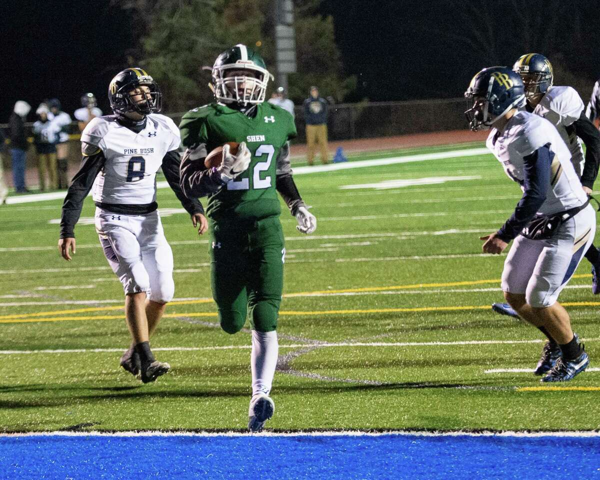Shenendehowa running back Billy Beach nearly walks through a huge hole into the end zone against Pine Bush during the Class AA New York state quarterfinals at Shaker High School on Friday, Nov. 15, 2019 (Jim Franco/Special to the Times Union.)