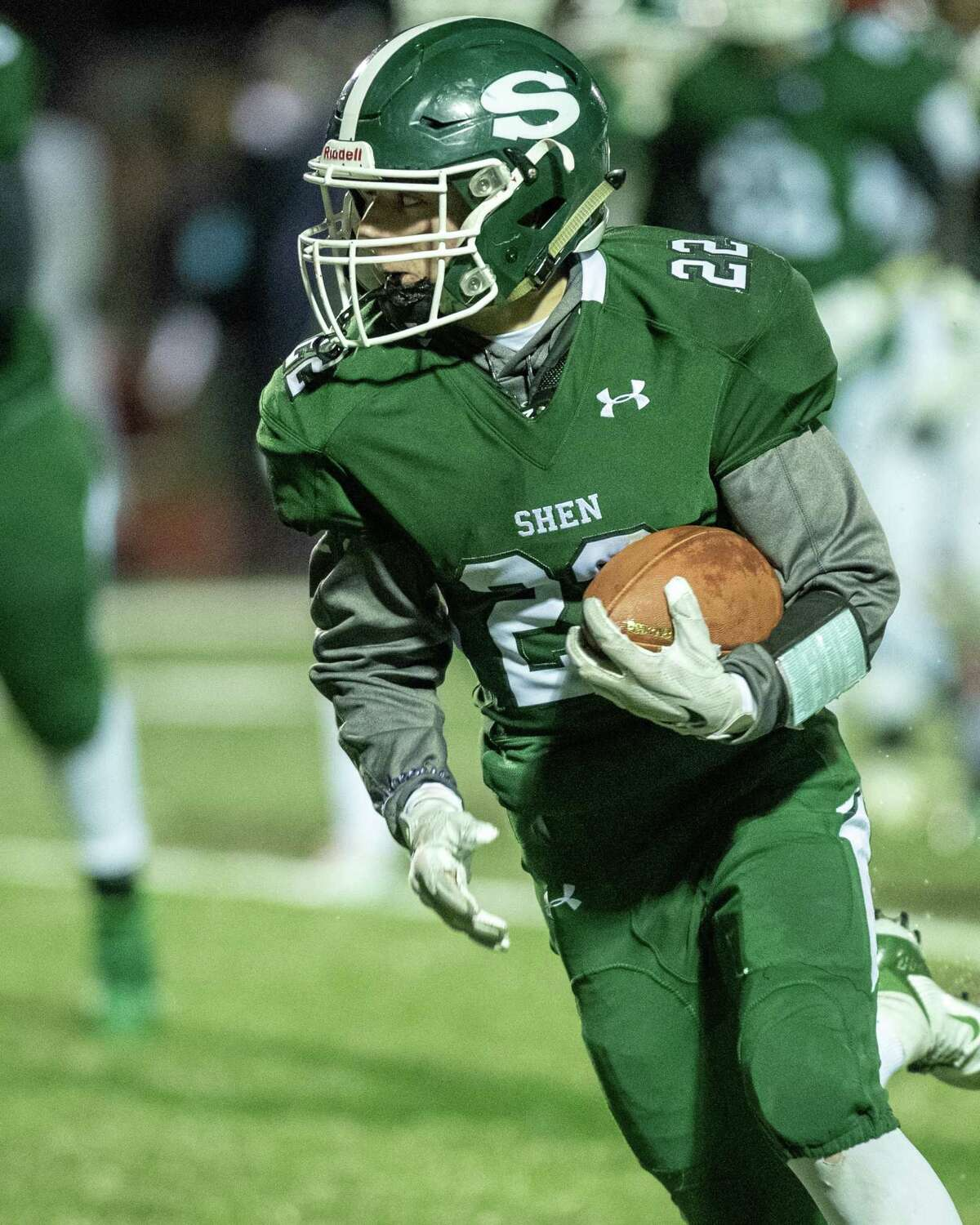Shenendehowa running back Billy Beach during the Class AA New York state quarterfinals against Pine Bush at Shaker High School on Friday, Nov. 15, 2019 (Jim Franco/Special to the Times Union.)