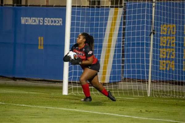Lamar keeper Erin Branch brings the ball out of goal on Friday night as the Cardinals faced No.2 seed UCLA in the opening round of the NCAA Championships.