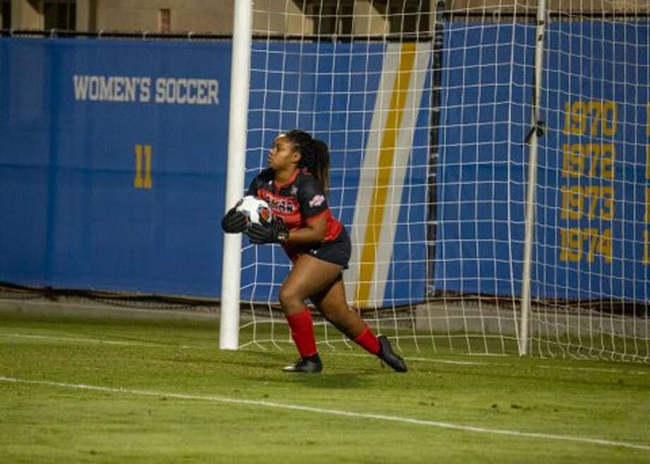 Lamar keeper Erin Branch brings the ball out of goal on Friday night as the Cardinals faced No.2 seed UCLA in the opening round of the NCAA Championships. Photo: Jon Washington / Lamar Athletics