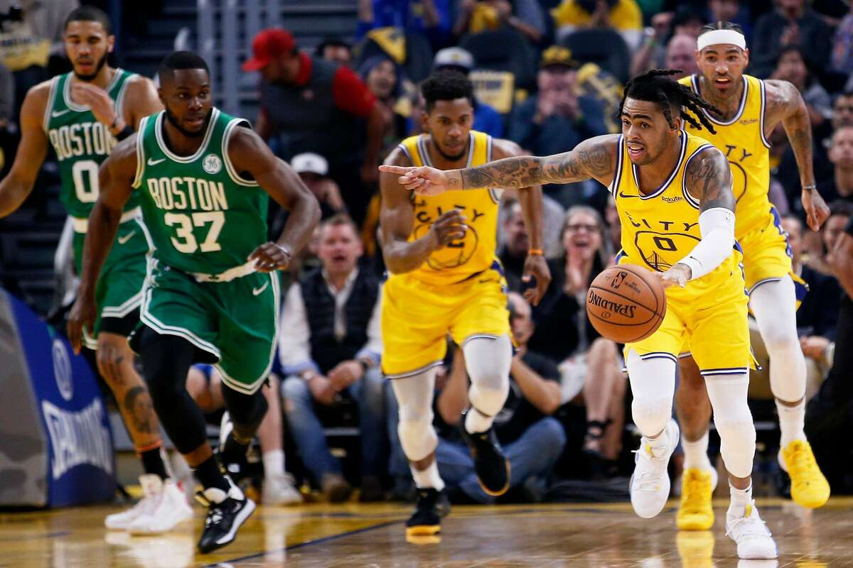Golden State Warriors guard D'Angelo Russell (0) on offense in the first period of an NBA game against the Boston Celtics at Chase Center on Friday, Nov. 15, 2019, in San Francisco, Calif.