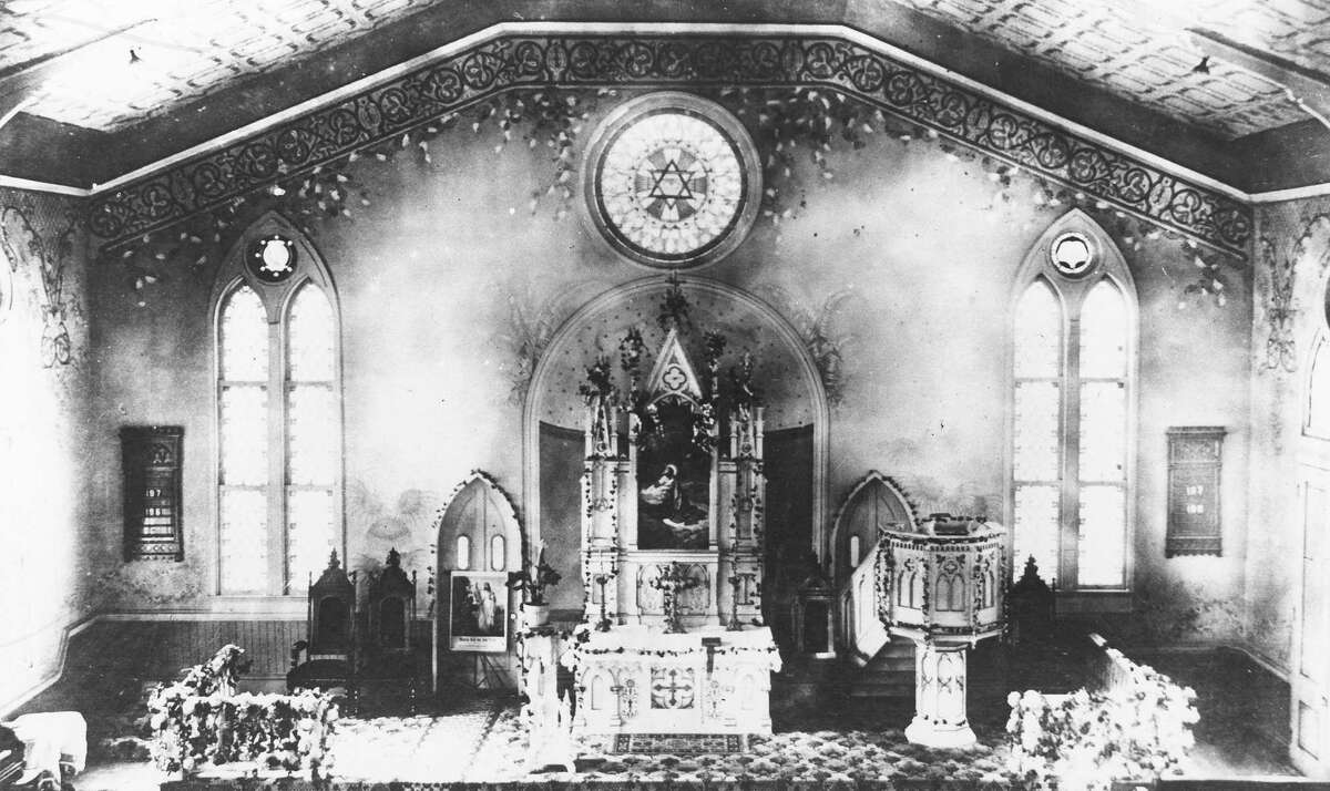 St. John's Lutheran Church at Nueva and Presa streets near downtown San Antonio was first built in 1860; it was enlarged and its interior remodeled, as shown in this photo, in 1886.