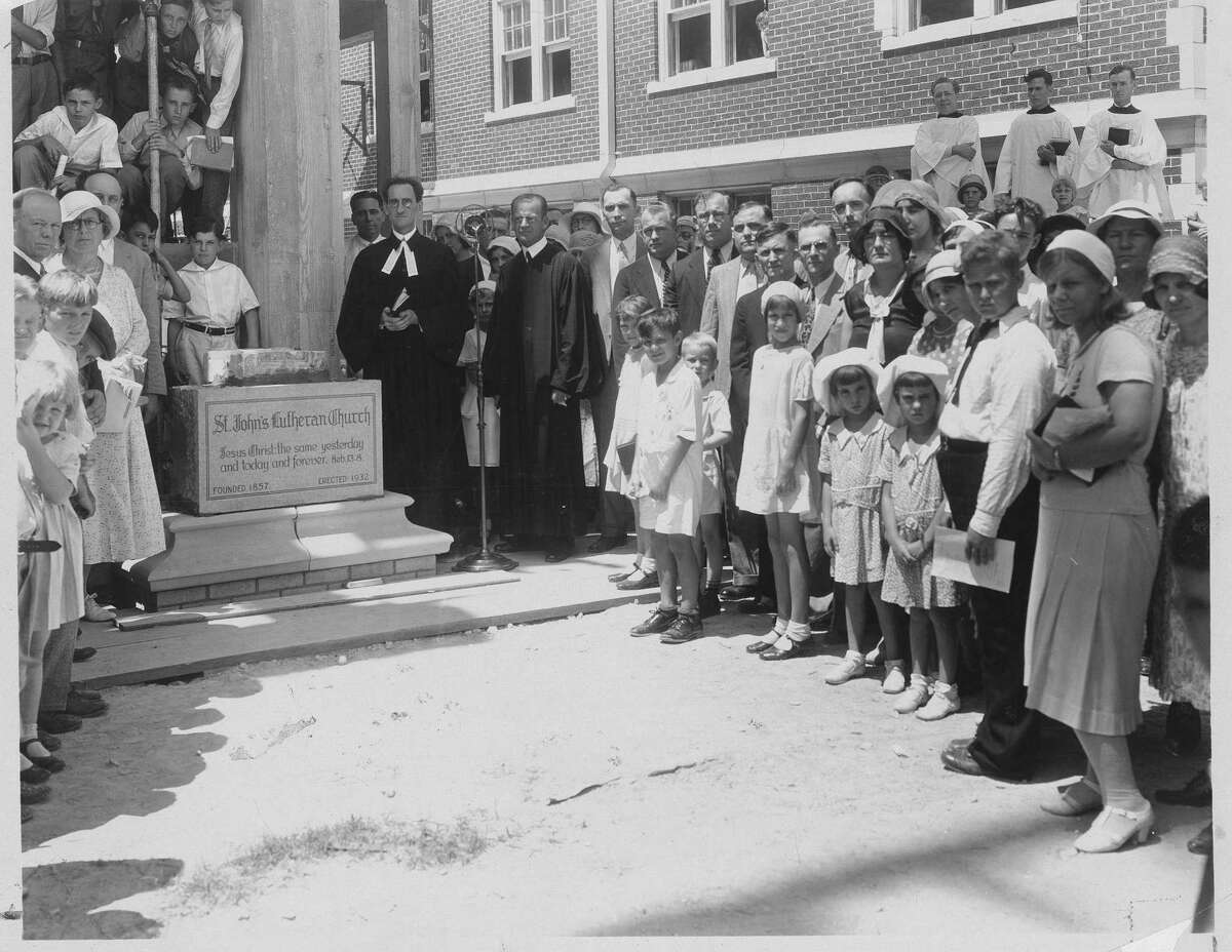 Parishoners and officials celebrate the laying of the cornerstone of St. John's Lutheran Church's third sanctuary at 502 E. Nueva St., just south of downtown San Antonio, on June 26, 1932. The church was completed before the end of the year and dedicated Dec. 18, 1932. The original building was constructed in 1860; that building was so extensively renovated and expanded in 1886 that it is considered the second sanctuary. That building was demolished in 1927 when the city decided to widen Nueva Street.