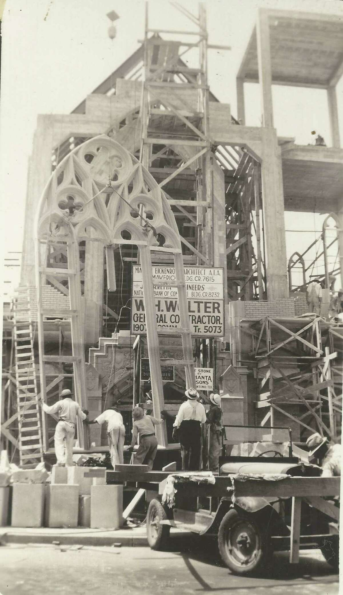 Construction workers move the framework of St. John's Lutheran Church's signature arch into position in 1932. The original church building was constructed in 1860 at Nueva and Presa streets; it was widened, lengthened and extensively remodeled in 1886. That building was demolished in 1927 when the city decided to widen Nueva Street. Services were held in the parish hall until a new church was built. The new sanctuary, located at 502 E. Nueva St. was dedicated Dec. 18, 1932. The sanctuary was rededicated in November 2019.