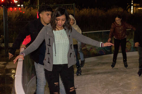 Houstonians skate on the ice rink at Discovery Green, which opened Nov. 15, 2019 and will remain open until February 2020.