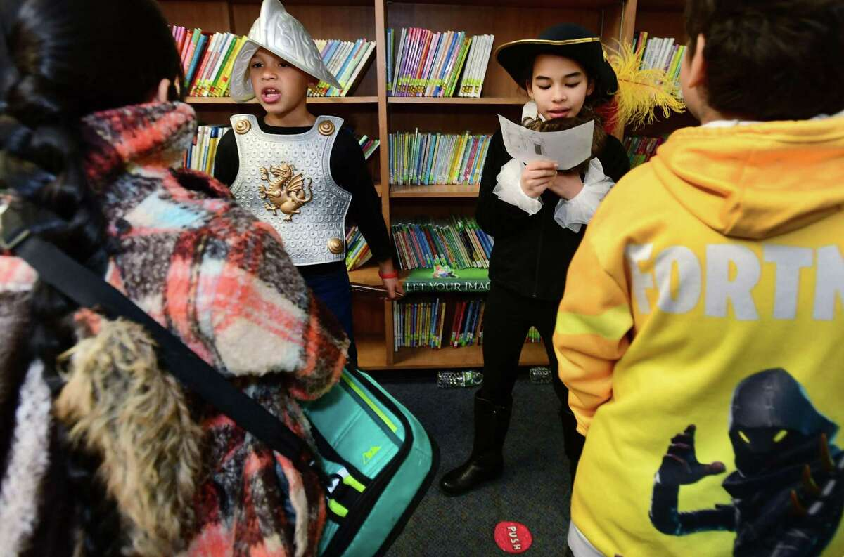 Students in Dr. Jeffrey M. Beckley, Jr. 5th Grade class including Keyner DeJesus and Stheisy Rodriguez dress up as explorers in a living museum biography exercise in conjuction with Jefferson Elementary School's Age of Exploration curriculum Friday, November 15, 2019, at the school in Norwalk, Conn. All grades at Jefferson had an opportunity to visit with the students and learn about the explorers the 5th graders portrayed.