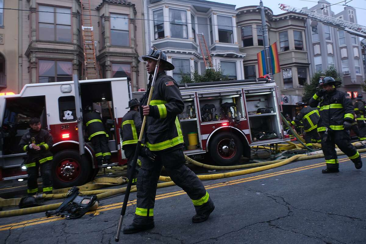 San Francisco firefighters battled a blaze early Saturday in two adjoining buildings in the Castro District in San Francisco, Calif. on Saturday November 16, 2019.