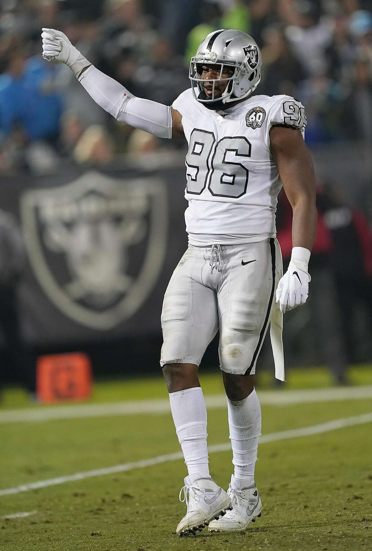 OAKLAND, CALIFORNIA - NOVEMBER 07: Clelin Ferrell #96 of the Oakland Raiders celebrates after sacking quarterback Philip Rivers #17 of the Los Angeles Chargers during the fourth quarter at RingCentral Coliseum on November 07, 2019 in Oakland, California. (Photo by Thearon W. Henderson/Getty Images)