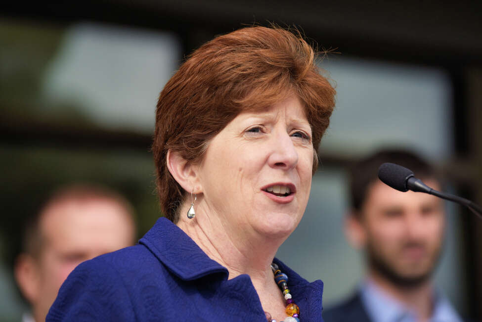 Albany Mayor Kathy Sheehan speaks at a ribbon cutting event for affordable housing at 280 North on Wednesday, Oct. 16, 2019, in Albany, N.Y. 280 North is the second phase of the redevelopment of the site where Ida Yarbrough Homes once stood. (Paul Buckowski/Times Union)