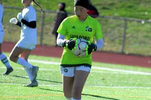Guilford goalie Claire Mackenzie during her team's 1-0 win over Pomperaug on Saturday, Nov. 16, 2019.