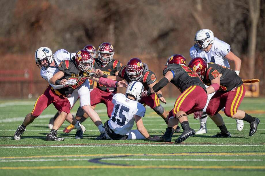 St. Joseph's defense teamed up to post its third shutout of the season. The Cadets of St. Joseph defeated, Staples High, 50-0, at St. Joseph high, Saturday, November 16, 2019 Photo: David G Whitham / For Hearst Connecticut Media / DGWPhotography