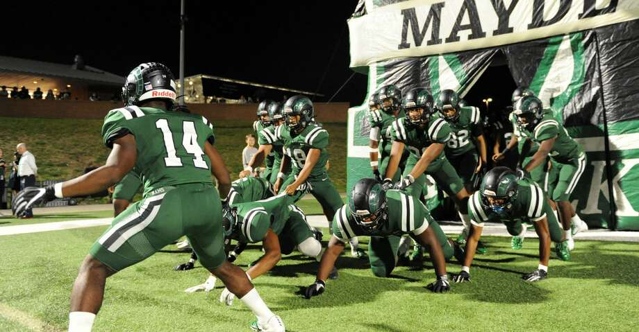 The Mayde Creek Rams take the field for a 6A Region III District 19 football game with the Taylor Mustangs on Friday, October 18, 2019 at Rhodes Stadium, Katy, TX. Photo: Craig Moseley/Staff Photographer