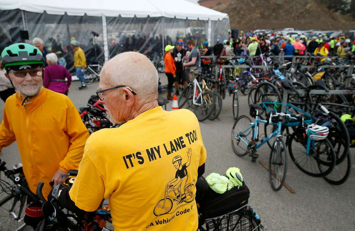 Tom Willging (left) and Bill Pinkham get ready for their inaugural ride across the new bike and pedestrian path on the Richmond-San Rafael Bridge in Richmond, Calif. on Saturday, Nov. 16, 2019.