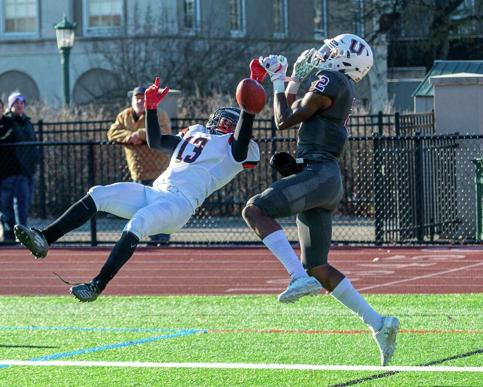 RPI defensive back Blake Battle brakes up what would have been a touchdown by Union College receiver Andre Ross Jr. during the annual Dutchmen Shoes football game at Union College on Saturday, Nov. 16, 2019 (Jim Franco/Special to the Times Union.)