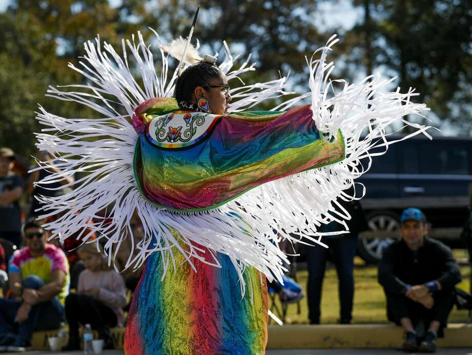 Julianne Butler performs a fancy dance, used in time of war, as members of the Alabama-Coushatta perform dances and talk about the tribe's history at the Heritage Museum of Montgomery County, Saturday, Nov. 16 2019, in Conroe. Photo: Jason Fochtman/Staff Photographer