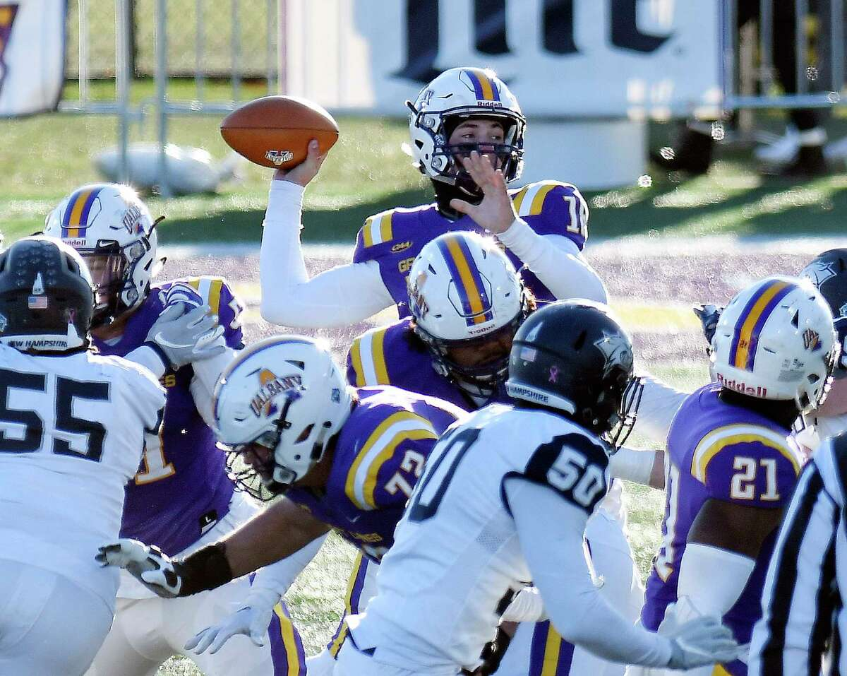 during the first half of an NCAA football game Saturday, Nov. 16, 2019, in Albany, N.Y. University at Albany won the game 24-17.