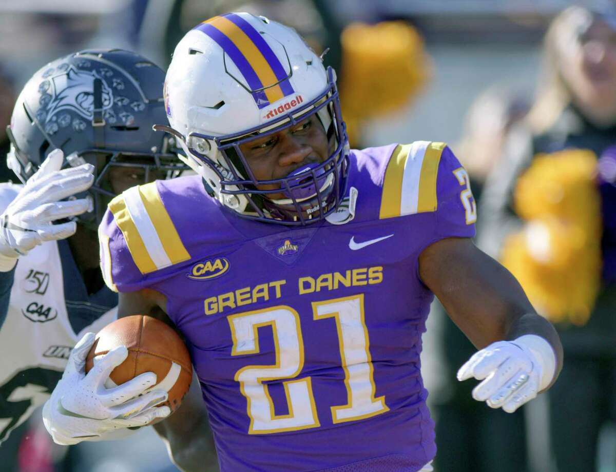 University at Albany running back Karl Mofor said he is looking forward to hitting and getting hit when the Danes start full-contact drills. (Hans Pennink / Times Union archive)
