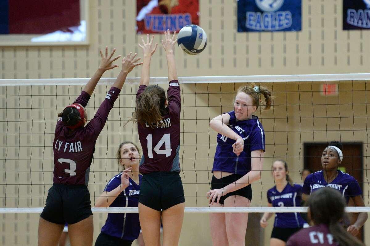 Claire Jeter (16) of Ridge Point attempts a kill shot during the second set of the Region III-6A Final volleyball match between the Ridge Point Panthers and the Cy-Fair Bobcats on Saturday, November 16, 2019 at Wheeler Fieldhouse, Sugar Land, TX.