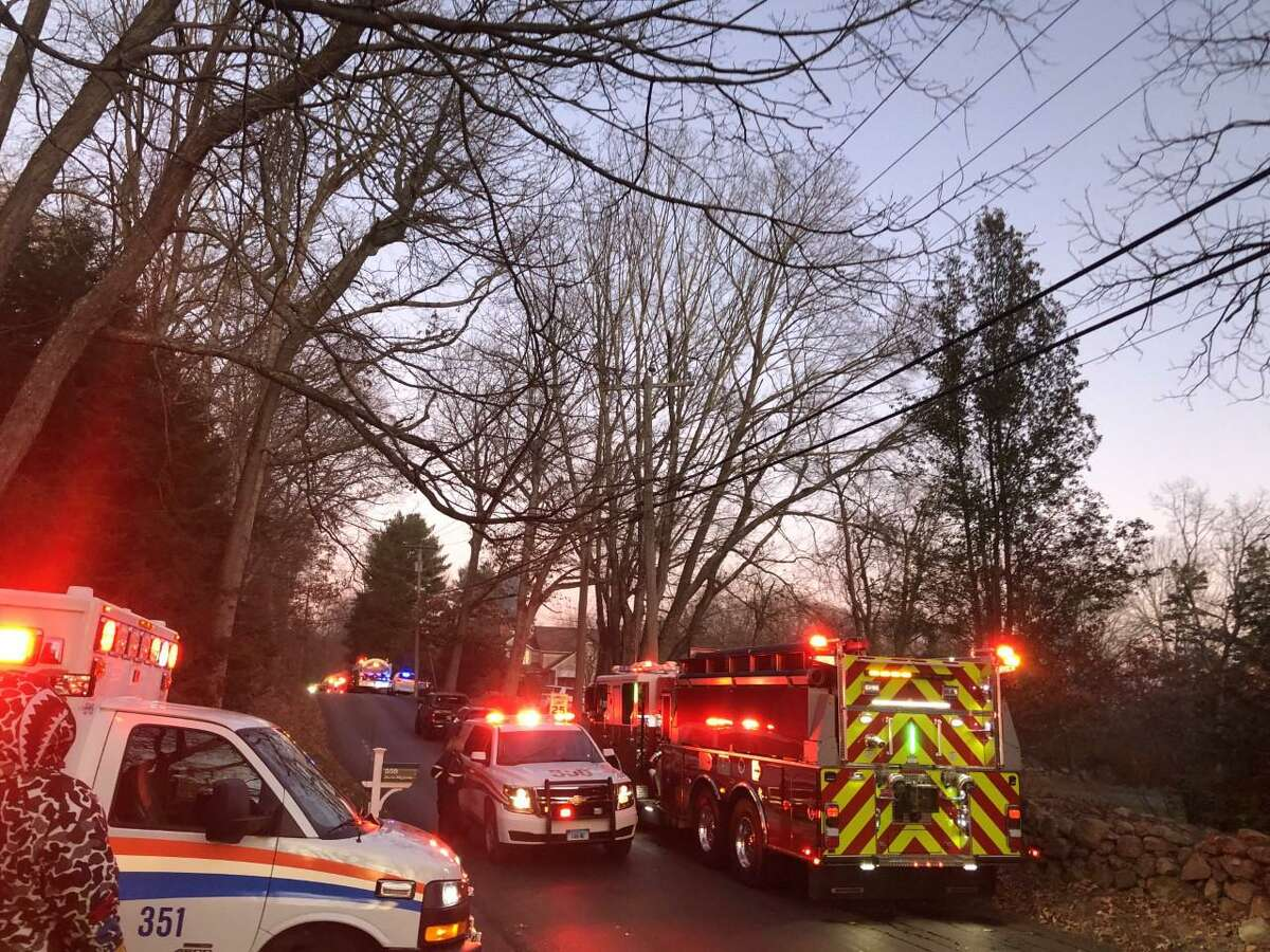 Fire roars through a home at 322 Dan's Highway in New Canaan, Connecticut Saturday, Nov. 16, 2019, in the afternoon.