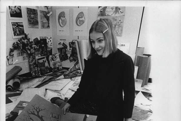 New York - environmental bond issue - poster contest to promote bond issue - Kate White, coordinator of Student Bond Coalitino. November 01, 1972 (Knickerbocker News Staff Photo/Times Union Archive)