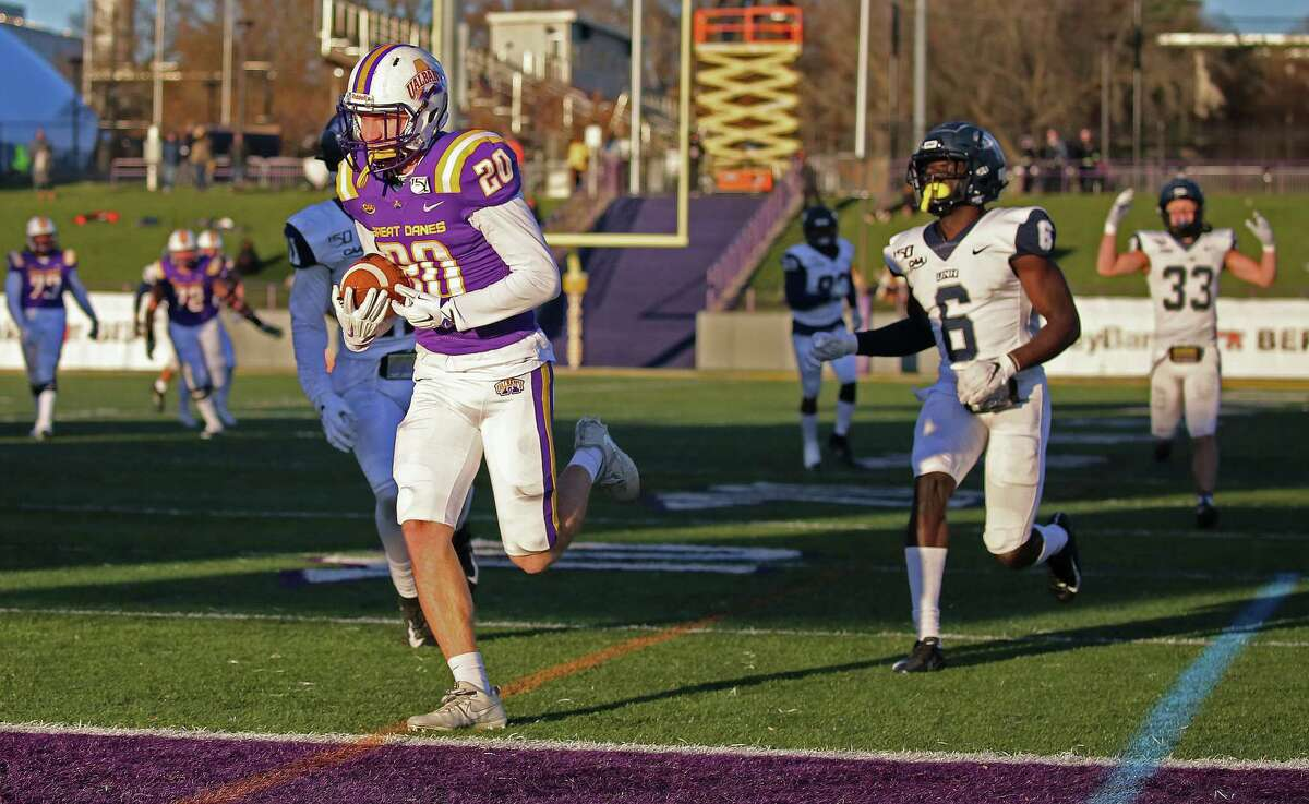 UAlbany wide receiver Tyler Oedekoven runs into the end zone after catching a pass from quarterback Jeff Undercuffler in the 4th quarter. The Danes won 24-17 on Saturday, Nov. 16, 2019 at UAlbany in Albany, N.Y. (Thomas Palmer/Times Union)