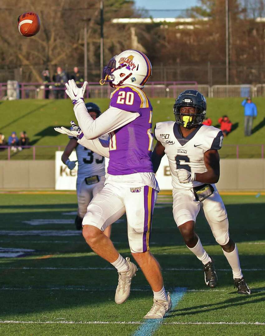 UAlbany wide receiver Tyler Oedekoven turns to catch a pass from quarterback Jeff Undercuffler in the 4th quarter before he runs into the end zone to score. The Danes won 24-17 on Saturday, Nov. 16, 2019 at UAlbany in Albany, N.Y. (Thomas Palmer/Times Union)