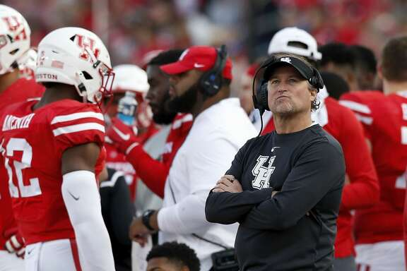 HOUSTON, TX - NOVEMBER 16:  Head coach Dana Holgorsen of the Houston Cougars looks to the scoreboard in the second quarter against the Memphis Tigers at TDECU Stadium on November 16, 2019 in Houston, Texas.  (Photo by Tim Warner/Getty Images)