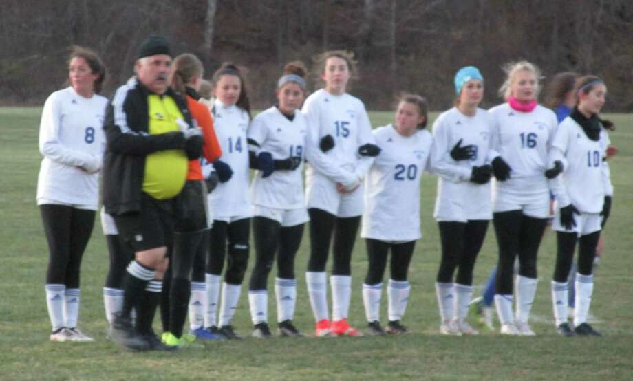 Old Lyme players prepare for game-ending penalty kicks in its Class S quarterfinal win at Housatonic High School Saturday afternoon. Photo: Peter Wallace / For Hearst Connecticut Media