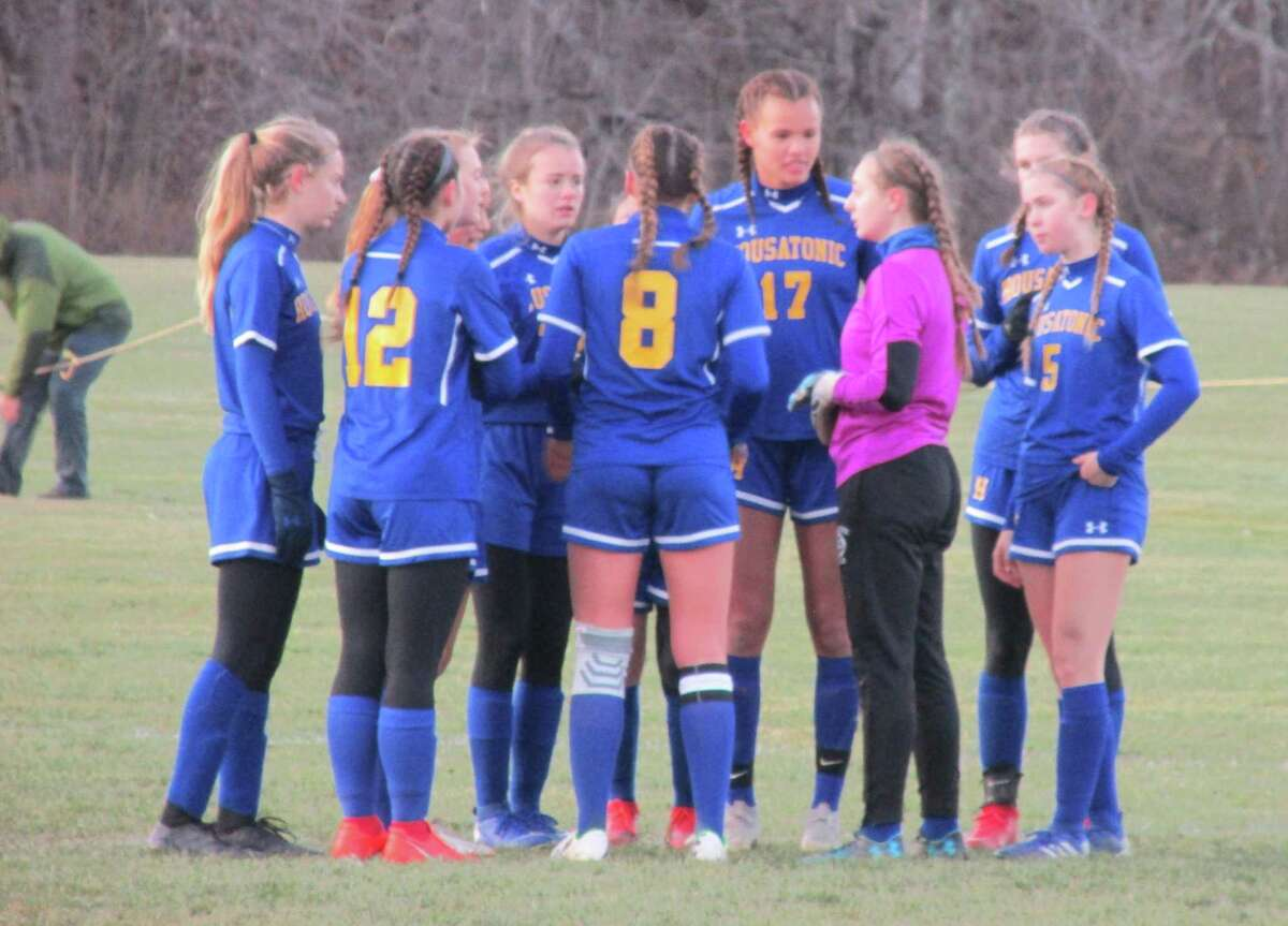 Housatonic goalkeeper Maggie Bickford, third from right, saved the first Old Lyme penalty kick, but the Wildcats came back to win the Class S quarterfinal shootout at Housatonic High School Saturday afternoon.