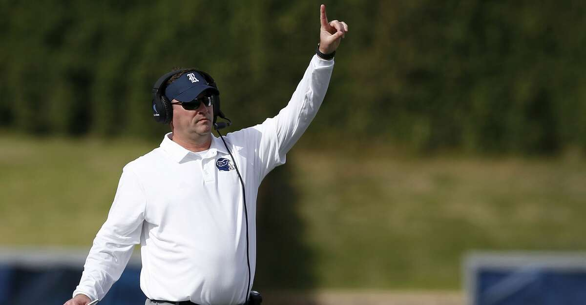HOUSTON, TX - NOVEMBER 02: Head coach Mike Bloomgren of the Rice Owls reacts in the first half against the Marshall Thundering Herd on November 2, 2019 in Houston, Texas. (Photo by Tim Warner/Getty Images)