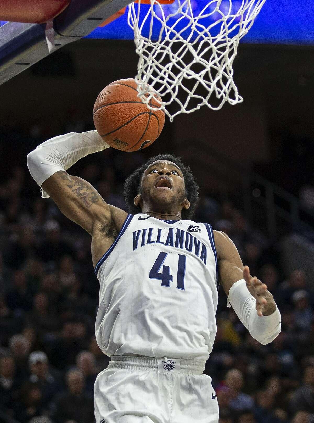 Villanova forward Saddiq Bey (41) in action during an NCAA college basketball game against Ohio Saturday, Nov. 16, 2019, in Philadelphia, Pa. (AP Photo/Laurence Kesterson)