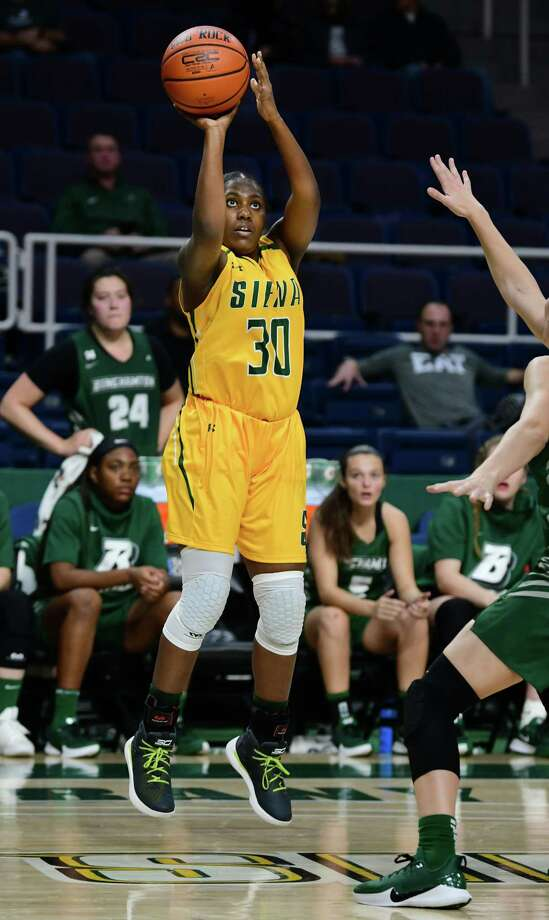 Siena's Ashley Williamson takes a shot during a basketball game against Binghamton at the Times Union Center on Tuesday, Nov. 5, 2019 in Albany, N.Y. (Lori Van Buren/Times Union) Photo: Lori Van Buren / 40048102A