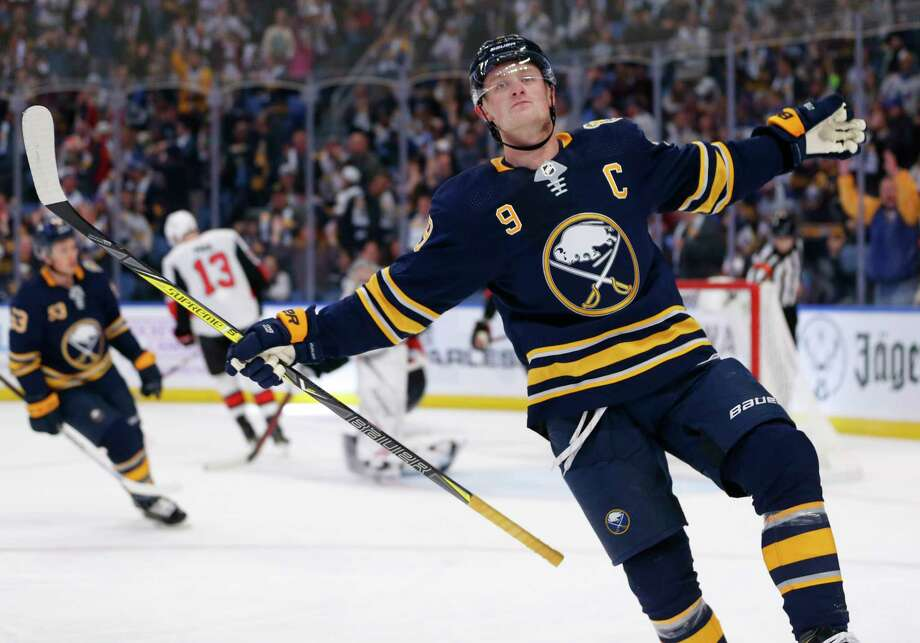 Buffalo Sabres forward Jack Eichel (9) celebrates his third goal during the third period of an NHL hockey game against the Ottawa Senators, Saturday, Nov. 16, 2019, in Buffalo, N.Y. (AP Photo/Jeffrey T. Barnes) Photo: Jeffrey T. Barnes / Copyright 2019 The Associated Press. All Rights Reserved.