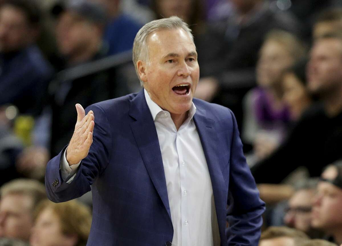 Houston Rockets head coach Mike D'Antoni reacts in the fourth quarter during an NBA basketball game against the Minnesota Timberwolves Saturday, Nov. 16, 2019 in Minneapolis. The Rockets defeated the Timberwolves 125-105. (AP Photo/Andy Clayton- King)