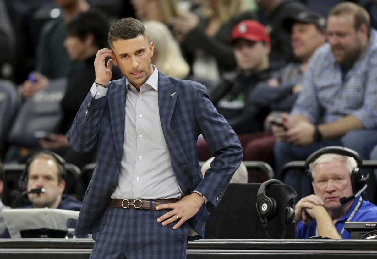 Minnesota Timberwolves head coach Ryan Saunders reacts in the fourth quarter during an NBA basketball game against the Houston Rockets Saturday, Nov. 16, 2019 in Minneapolis. The Rockets defeated the Timberwolves 125-105. (AP Photo/Andy Clayton- King)