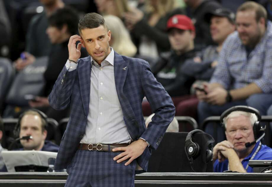 Minnesota Timberwolves head coach Ryan Saunders reacts in the fourth quarter during an NBA basketball game against the Houston Rockets  Saturday, Nov. 16, 2019 in Minneapolis. The Rockets defeated the Timberwolves 125-105. (AP Photo/Andy Clayton- King) Photo: Andy Clayton-King/Associated Press