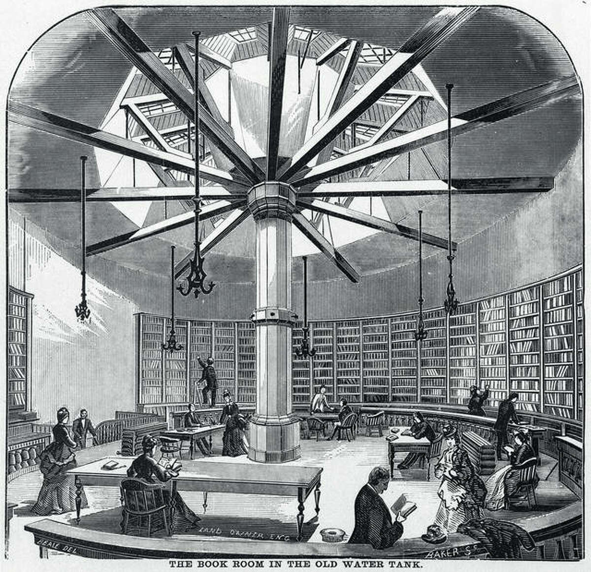 This reproduction of an engraving shows the interior of the book room in the old water tank that served as the temporary space of the Chicago Public Library after the Great Chicago Fire.