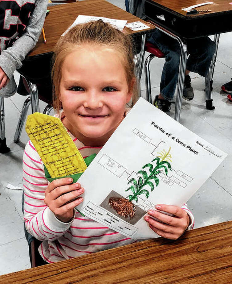 The Pike-Scott Agriculture in the Classroom program recently visited Pikeland Community School, where students learned all about corn, including parts of the corn plant, how corn is grown, different types of corn, foods containing corn and the many uses for the various types of corn. Mrs. Allen's student: Raleigh Willard of Mrs. Allen's class shows off her corn-themed crafts. Photo: Photo Provided
