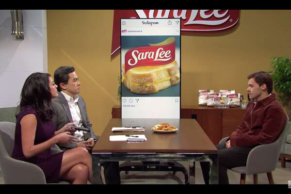 """Harry Styles appears on a """"Saturday Night Live"""" sketch making fun of a Sara Lee social media manager on Nov. 16, 2019."""