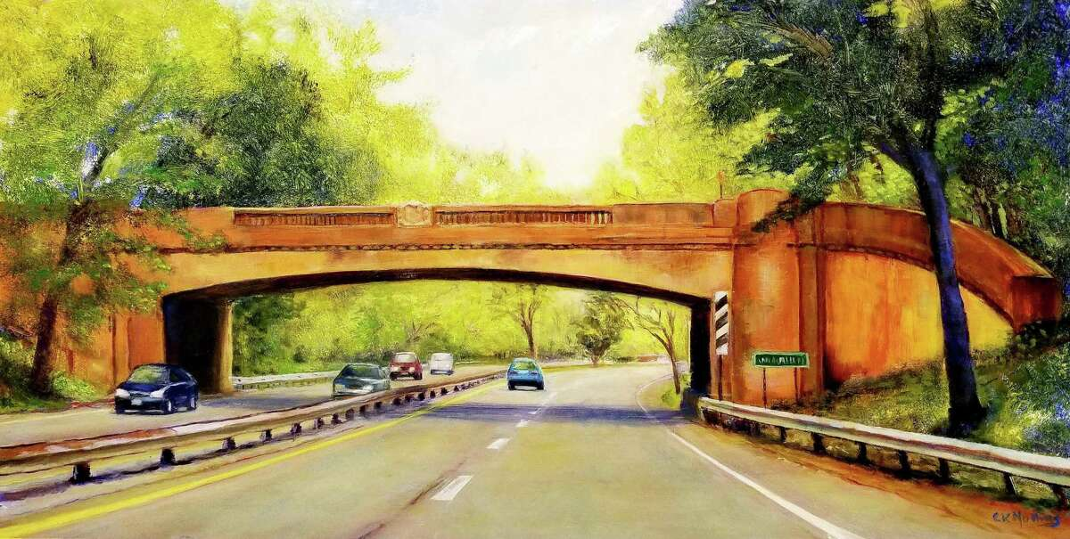 The Wire Mill Road Bridge on the Merritt Parkway, an oil alumninum baord, by Cynthia Mullins, at Wilton Library.