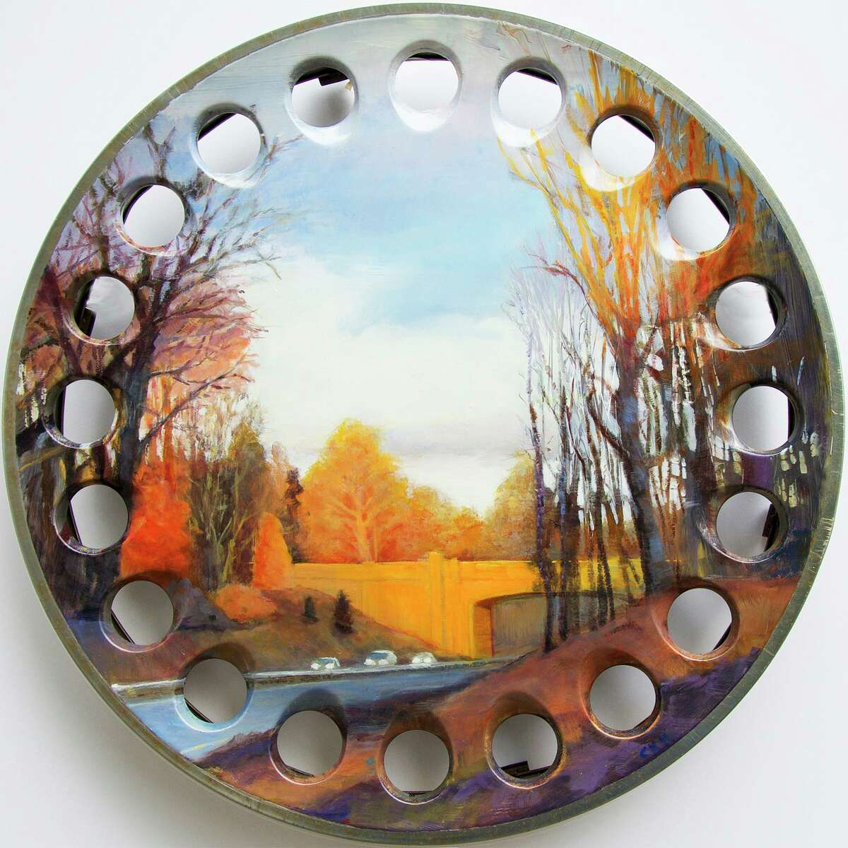 The Travelers, an oil on stainless steel hubcap, by Cynthia Mullins.