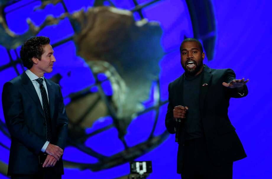 Kanye West joined senior pastor Joel Osteen and talked about overcoming adversity and his faith journey during the morning service at Lakewood Church Sunday, Nov. 17, 2019, in Houston. Photo: Godofredo A. Vásquez, Staff Photographer / © 2019 Houston Chronicle