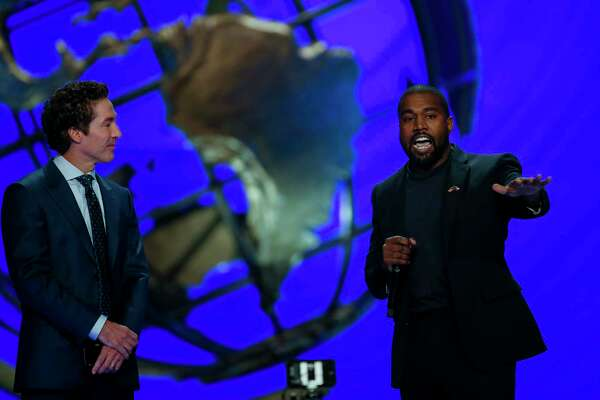 Kanye West joined senior pastor Joel Osteen and talked about overcoming adversity and his faith journey during the morning service at Lakewood Church Sunday, Nov. 17, 2019, in Houston.