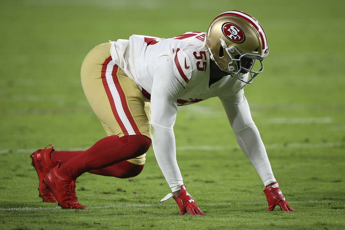 San Francisco 49ers defensive end Dee Ford (55) against the Arizona Cardinals during the first half of an NFL football game, Thursday, Oct. 31, 2019, in Glendale, Ariz. (AP Photo/Ross D. Franklin)
