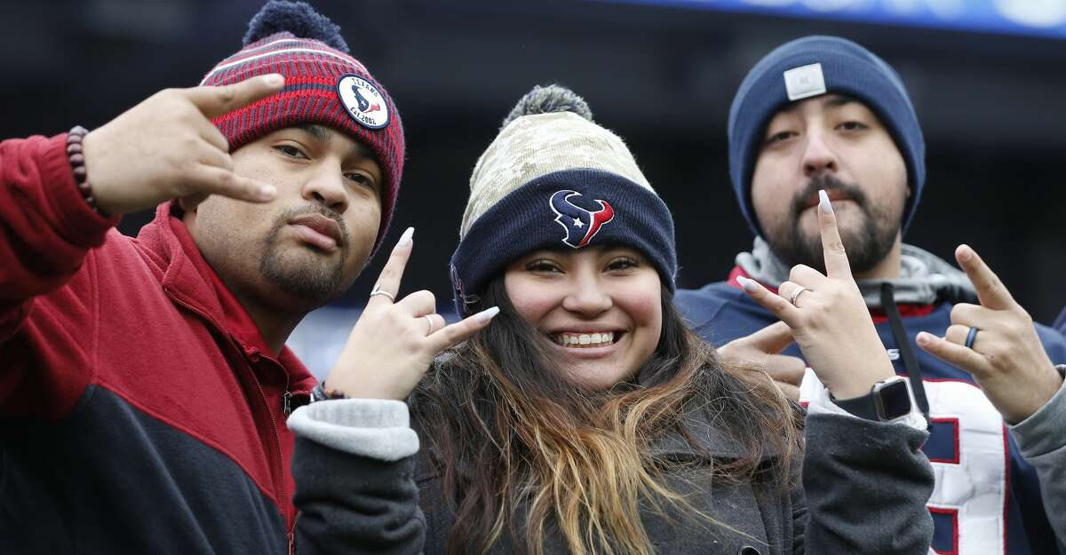 Houston Texans fans watch warm ups before an NFL football game against the Baltimore Ravens at M&T Bank Stadium on Sunday, Nov. 17, 2019, in Baltimore.