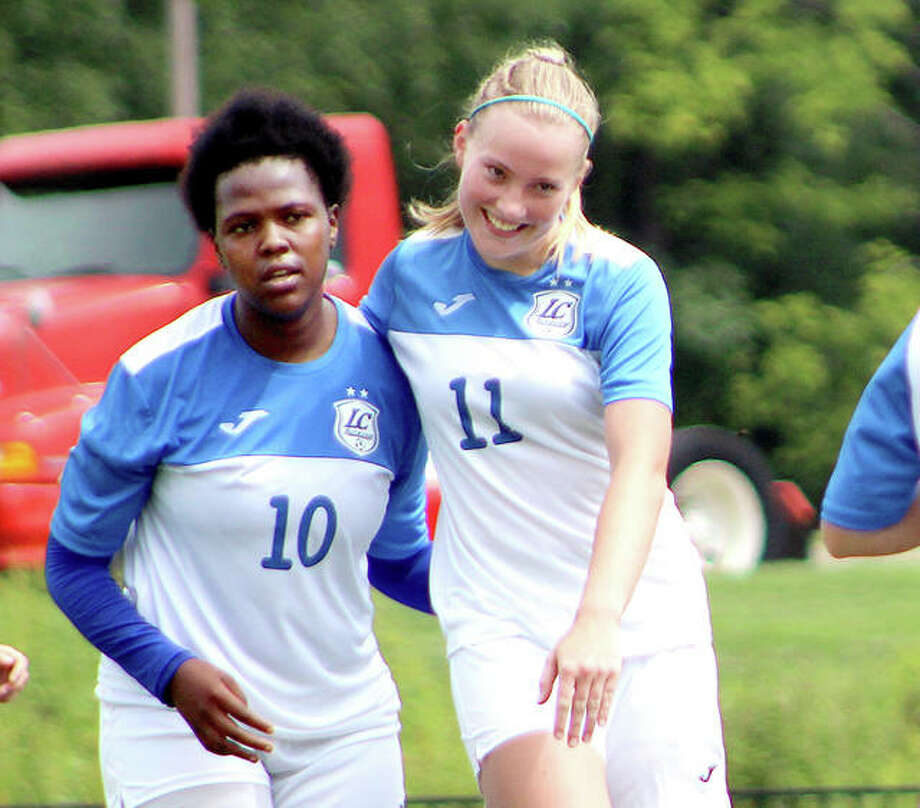 Boitumelo Rabale, left, and Candice Parziani have scored a combined 83 goals for LCCC on its way to the NJCAA National Tournament, which begins Monday in Melbourne, Fla. Rabale leads the nation with 52 goals and Parziani has scored 31, eighth in the nation. Photo: Pete Hayes | The Telegraph