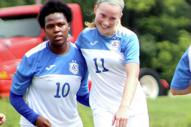 Boitumelo Rabale, left, and Candice Parziani have scored a combined 83 goals for LCCC on its way to the NJCAA National Tournament, which begins Monday in Melbourne, Fla. Rabale leads the nation with 52 goals and Parziani has scored 31, eighth in the nation.