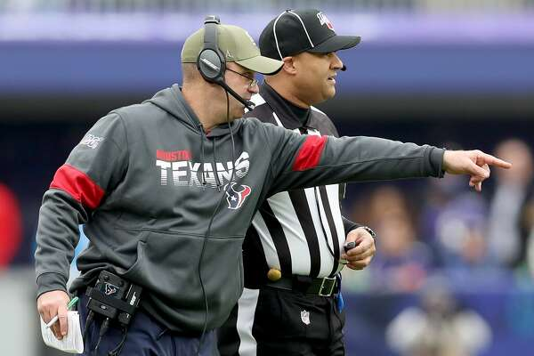 BALTIMORE, MARYLAND - NOVEMBER 17: head coach Bill O'Brien of the Houston Texans challenges a play against the Baltimore Ravens during the first quarter in the game at M&T Bank Stadium on November 17, 2019 in Baltimore, Maryland. (Photo by Rob Carr/Getty Images)