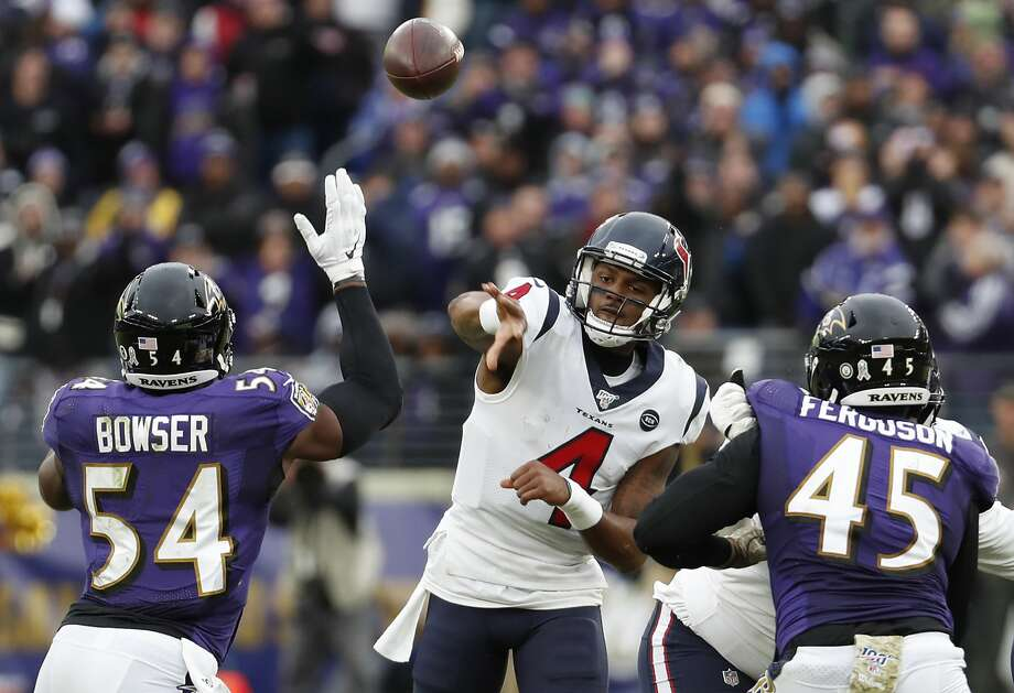 Houston Texans quarterback Deshaun Watson (4) throws a pass over Baltimore Ravens linebacker Tyus Bowser (54) during the fourth quarter of an NFL football game at M&T Bank Stadium on Sunday, Nov. 17, 2019, in Baltimore. Photo: Brett Coomer/Staff Photographer