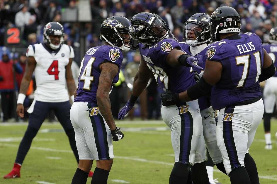 Baltimore Ravens outside linebacker Matt Judon (99) celebrates taking down Houston Texans wide receiver Kenny Stills during the fourth quarter of an NFL football game at M&T Bank Stadium on Sunday, Nov. 17, 2019, in Baltimore.
